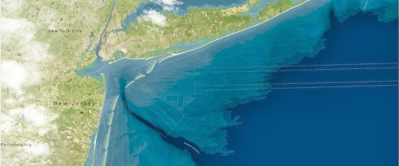 This artist rendering provided by WXY/West 8/Stevens Institute of Technology shows a proposed project to create a string of artificial barrier islands off the coast of New Jersey and New York to protect the shoreline from storm surges like the ones that caused billions of dollars? worth of damage during Superstorm Sandy. The ?Blue Dunes? project, conceived by New Jersey?s Stevens Institute of Technology and two architectural firms, would cost $10 billion to $12 billion, and would stretch from central Long Island, N.Y., to the southern tip of Long Beach Island in New Jersey. | Associated Press) Click to enlarge.