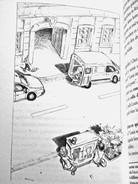 Blick ins Buch: Die Kinder beobachten, hinter einem Trafokasten versteckt, die andere Straßenseite