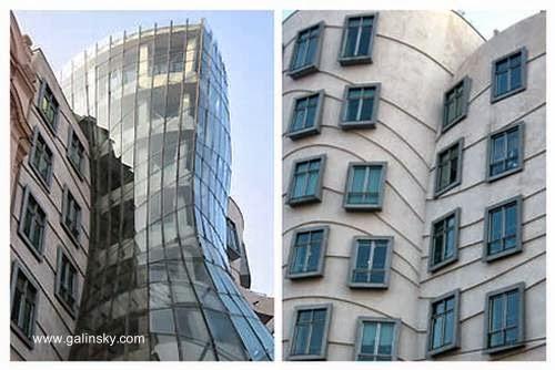 Detalles arquitectónicos de la Dancing House en Praga