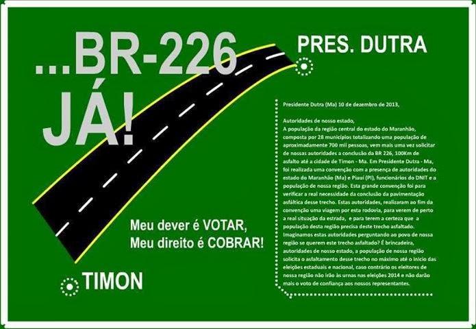 Apoio: Campanha pelo asfaltamento da BR-226