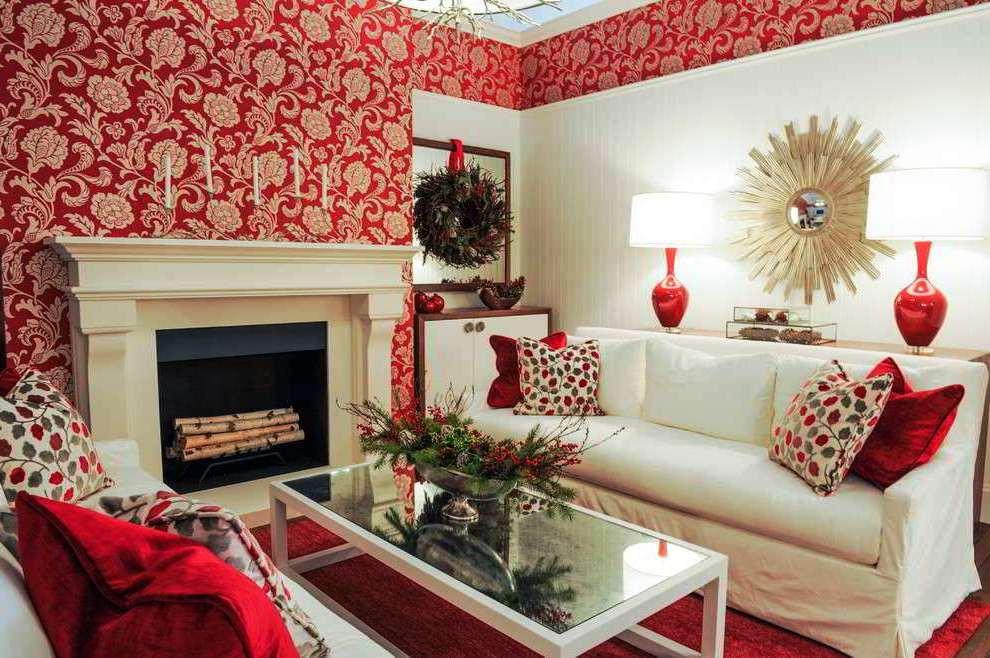 Wallpaper Dinding Ruang Tamu Minimalis Merah