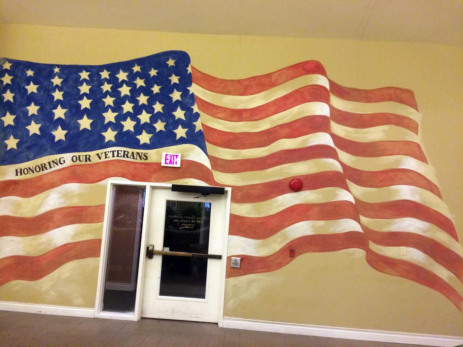 american flag mural, old glory mural, veterans wall mural,