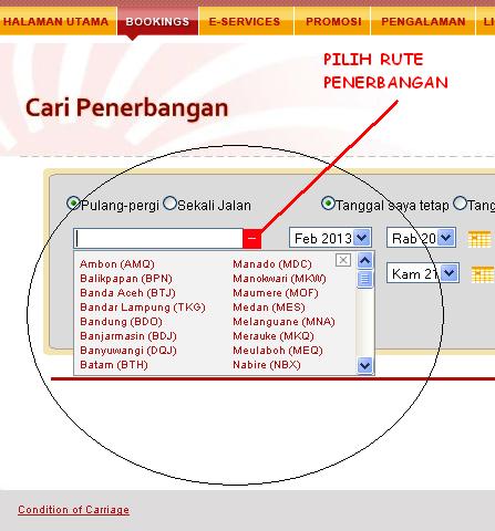 tampilan untuk mencari rute penerbangan pada situs resmi lion air ...