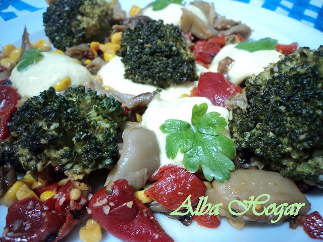 setas brocoli en salsa de yogur alba hogar