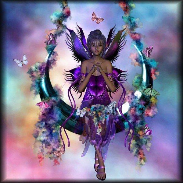 elfe+violette dans fond ecran ange violet