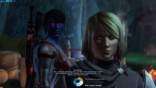 star wars the old republic, Knights of the Fallen Empire, Chapter IV The Gravestone endless swamp lana beniko conversation lie