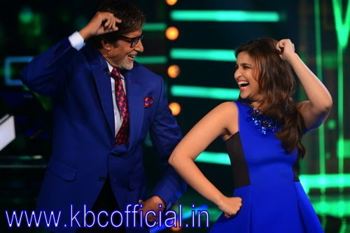 "Parineeti Chopra and Aditya Roy Kapoor on the set of KBC for his film ""Daawat - e - Ishq"""