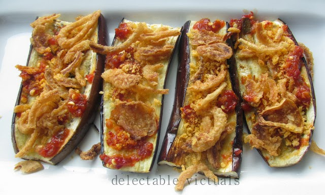 Eggplant Slices with Crunchy French Fried Onions