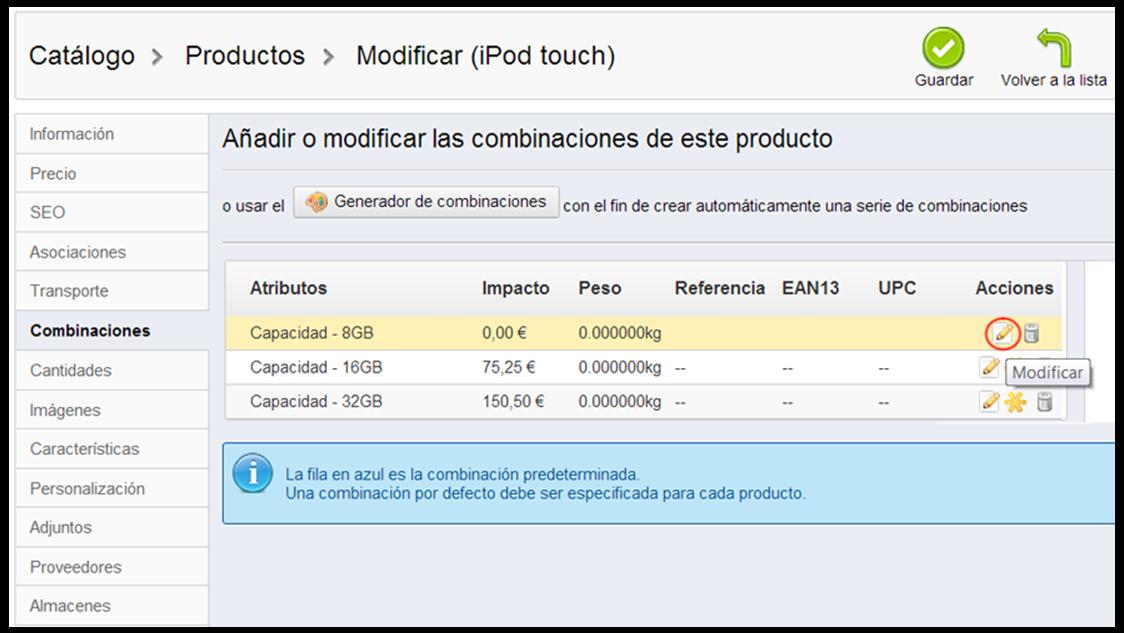 Añadir o modificar las combinaciones de producto