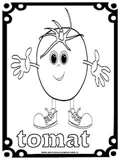 mewarnai kartun gambar tomat