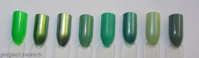 swatches - 1- Kleancolor Neon Green, 2- Maybelline Avante Green, 3- China Glaze Unpredicatble, 4- Sinful Colors Mint Apple, 5- Sinful Colors Rise and Shine, 6- Zoya Zuza, 7- Sonia Kashuk Fairy Princess, 8- Zoya Bevin