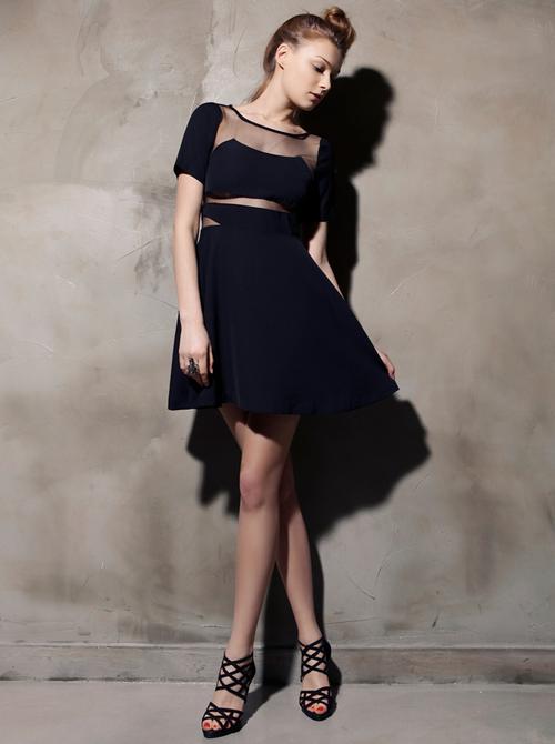 Mesh Insert Pure Beauty Dress
