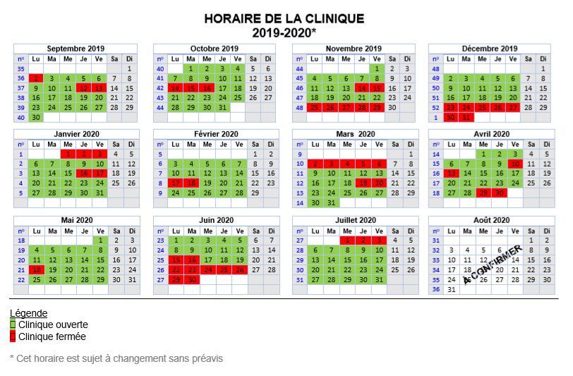 Horaire de la clinique 2019-2020