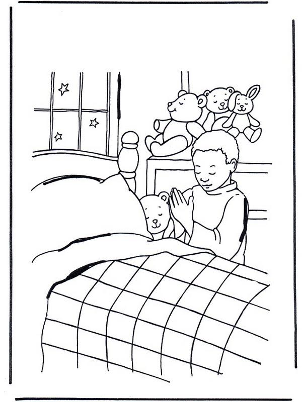COLOREA TUS DIBUJOS: Niño rezando antes de irse a dormir para colorear