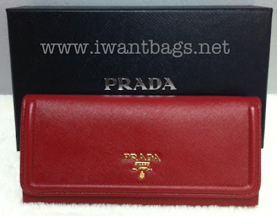 Prada Saffiano Frame Leather Wallet 1M1132- Fuoco