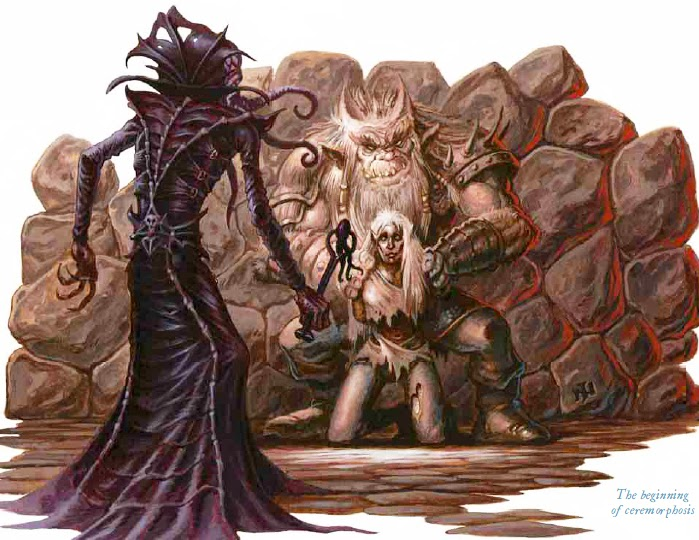 mind flayer La fase iniziale della ceremorfosi - by J. Nelson Lords of Madness: The Book of Aberrations (2005-04) © Wizards of the Coast & Hasbro