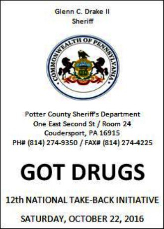 10-22 Drug Takeback At Sheriff Office