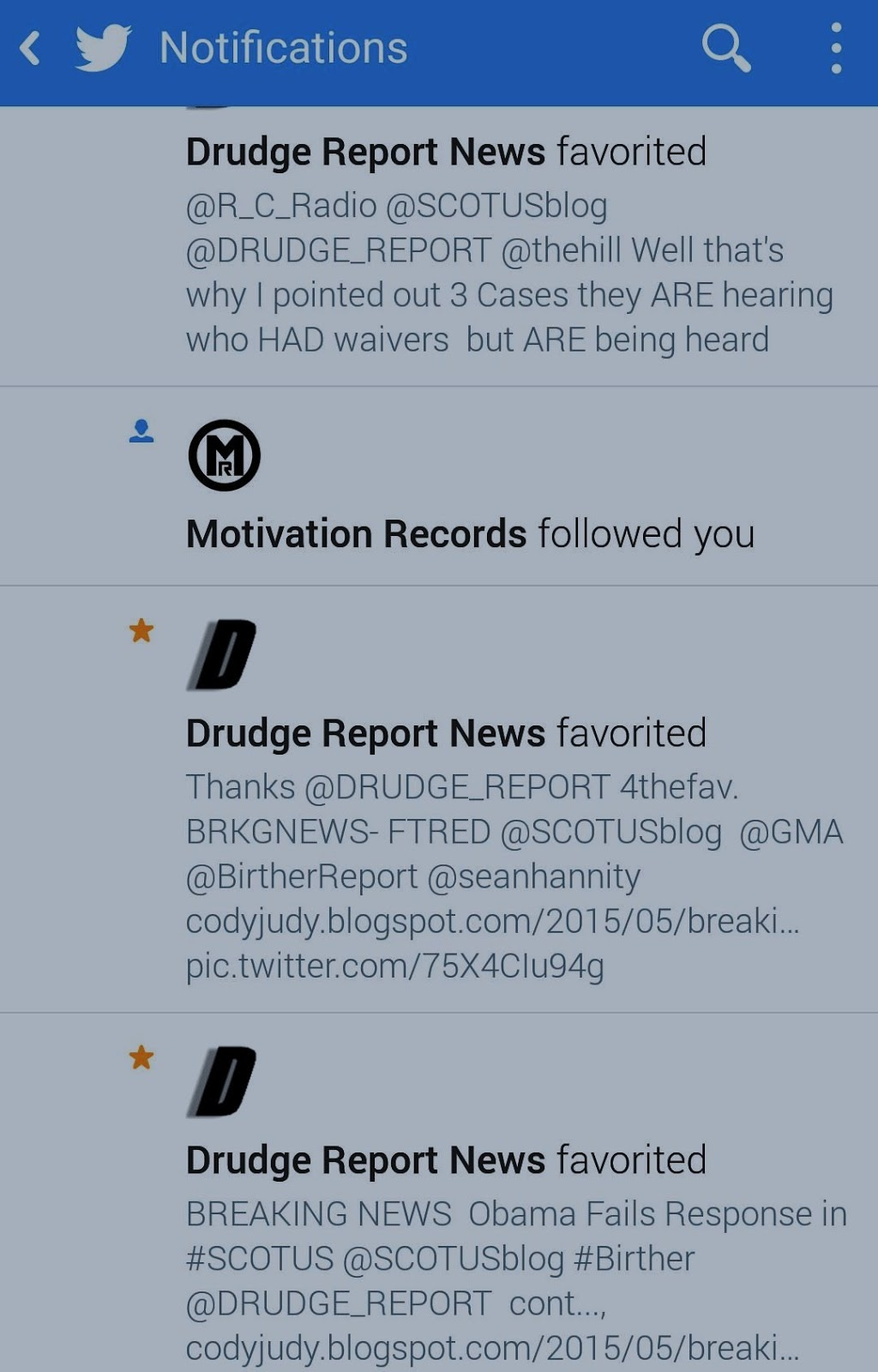 Cody robert judy breaking news obama and government defaults drudge favors three crj tweets aiddatafo Image collections