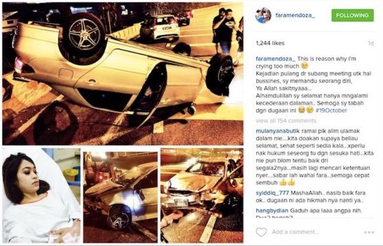 Komen Mengejutkan Peminat Apabila Fara Mendoza kemalangan