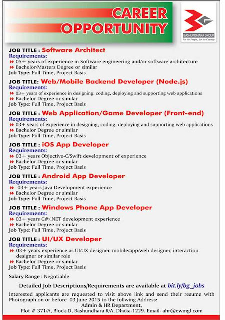 Organization: Bashundhara Group job circular, Post: Software Architect, Web/Mobile Backend Developer and more