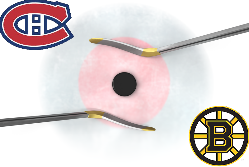 Face-off circle with logos from the Montreal Canadiens and Boston Bruins