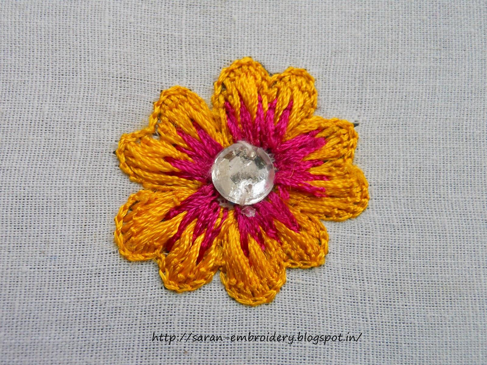 Saran embroidery aari flower design