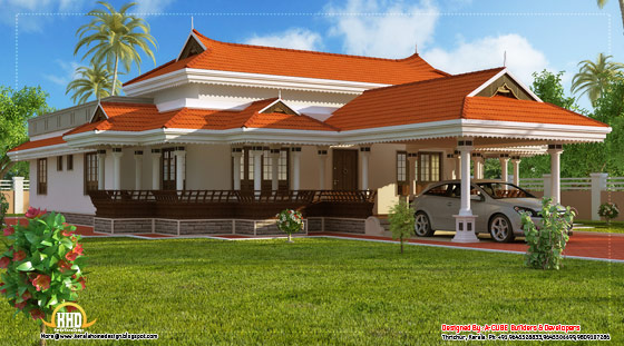 Kerala model house design - 2292 Sq. Ft. (213 Sq. M.) (255 Square Yards) - March 2012