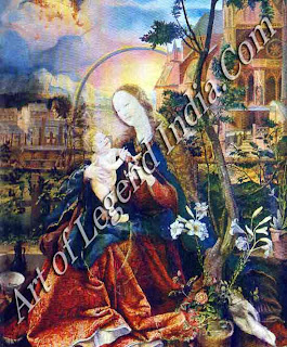 The Madonna in a Garden (1517-20), This picture is packed with objects associated with the Virgin, such as lilies and roses, olive and fig trees. The pomegranate held by the Christ Child symbolizes the Resurrection.