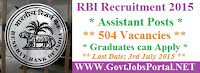 RBI Recruitment 2015 for Assitant
