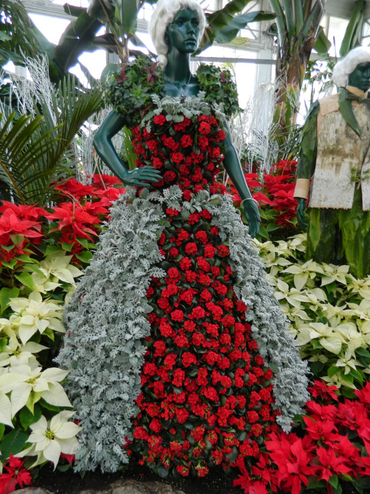 Allan Gardens Conservatory Christmas Flower Show 2014 floral statue lady by garden muses-not another Toronto gardening blog