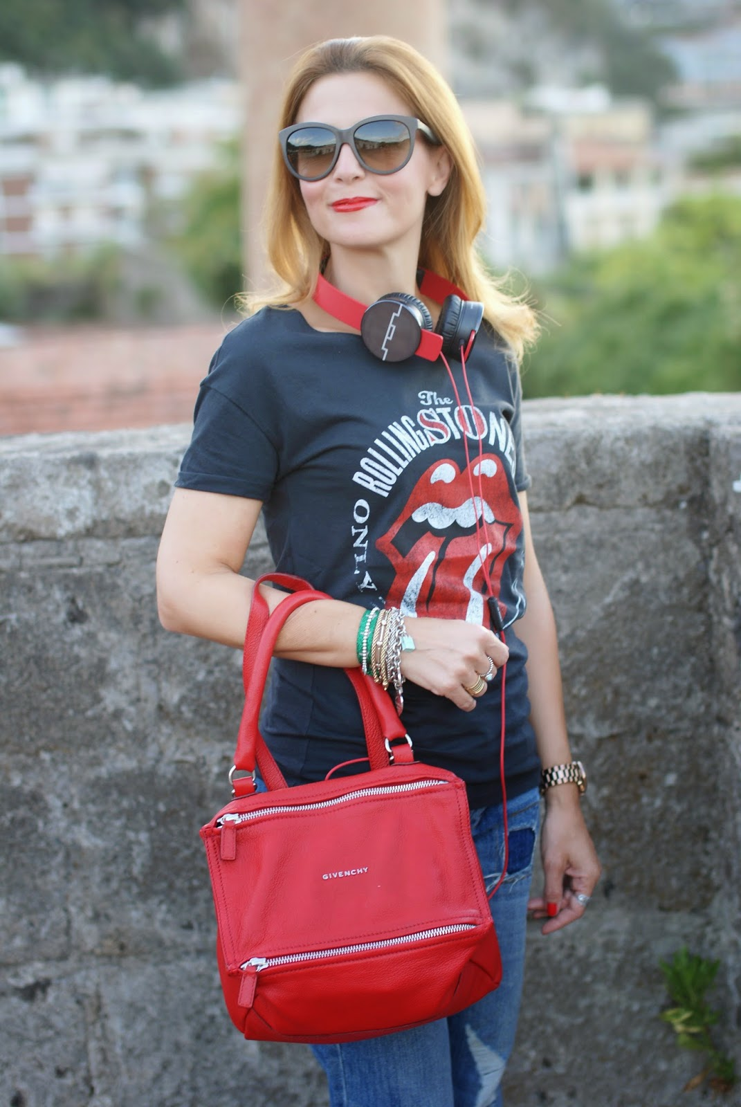 Givenchy red Pandora bag, Rolling Stones tee, Fashion and Cookies, fashion blogger