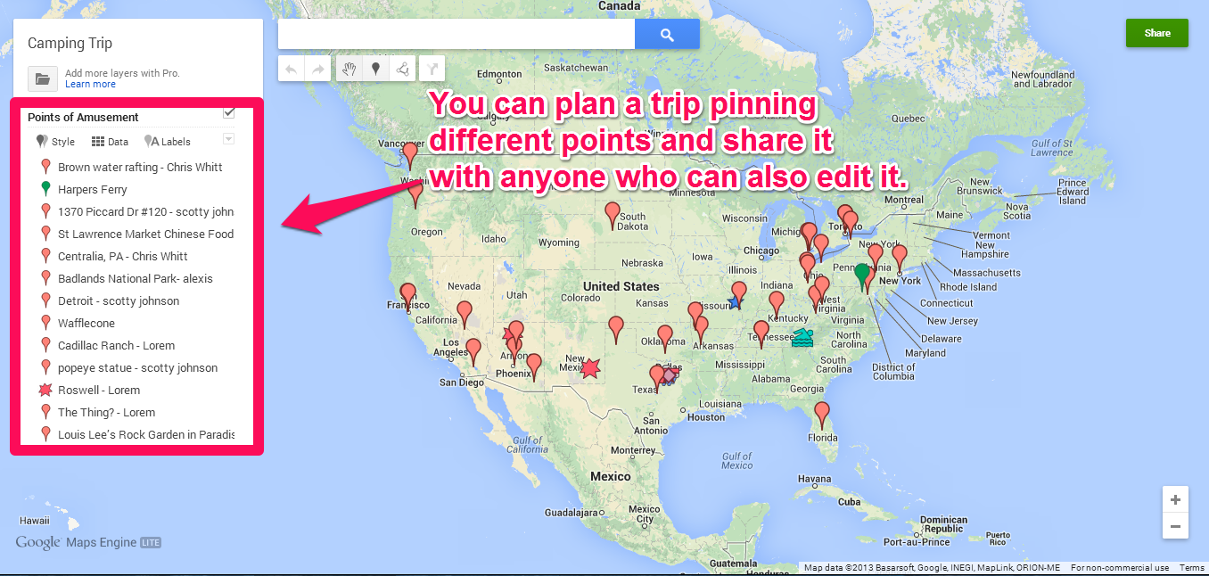 google maps to pinpoint the places to visit this is a way to plan a trip beforehand it is shared to the whole class by my teacher for all of us to pin