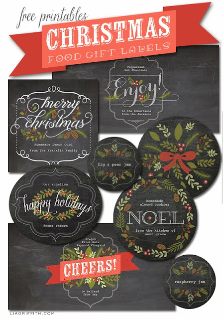 Free Printable Chalkboard Style Christmas Labels. Editable.