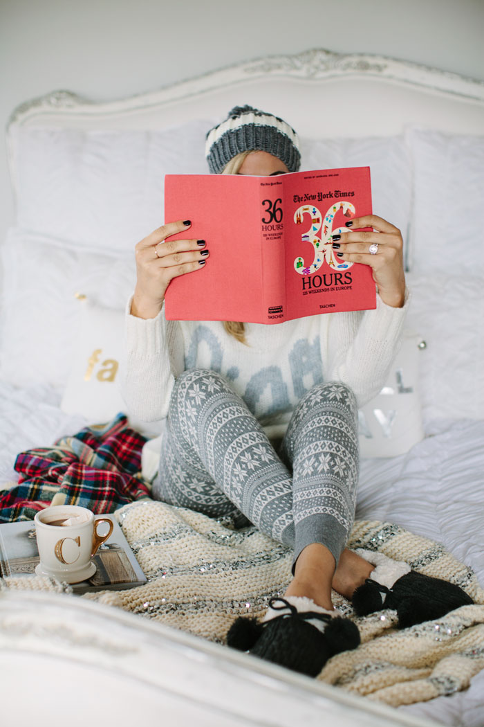 Aerie, No Retouching, No Photoshop, #AerieREAL, Fair Isle, Leggings, Joggers, Ciao, Ivory, Sweater, Stripes, Grey, Pom, Hat, Beanie, Lace Trim, Peach, Bralette, Slippers, Pom Pom, Stuffs, Loungewear, Cozy, #Darlingathome, Comfortable, Weekend Wear, 36 Hours, New York Times, Book, Holiday Pillows, Bedroom, Home, Anthropologie, Hot Chocolate, Initial, Mug, Cup, Plaid, Blanket Scarf, Sequin Blanket, White Duvet Cover, Black Nails, CND, Vinyl Lux, A Little Dash of Darling, Caitlin Lindquist, R29, Refinery 29, Home Wear, PJ's, Pajamas, Sleep Wear, Fashion Blog, Lifestyle, Blogger,