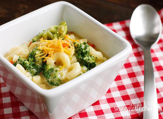 macaroni and cheese soup with broccoli c o skinny taste