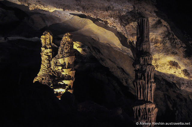 Stalagmites and stalactites formation in the Blanche Cave