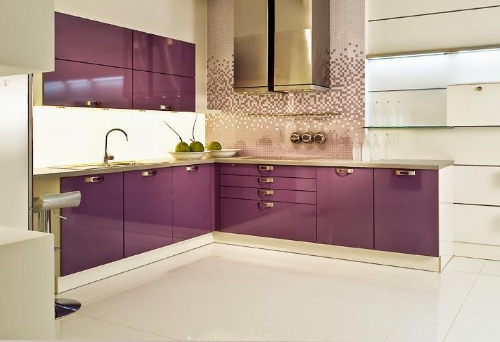Cocinas modernas en color p rpura y lila colores en casa - Cocina color lila ...