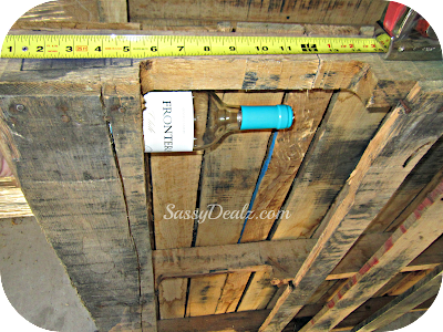 measure wood pallet wine rack