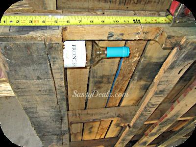 measure wood pallet wine rack