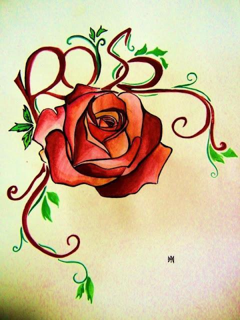 rose tattoo design. Black Bedroom Furniture Sets. Home Design Ideas