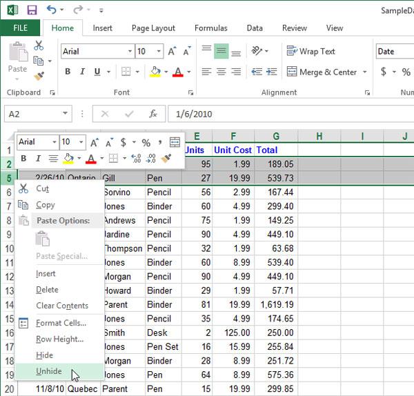 Cách tạm thời ẩn hàng, cột trong Excel 2013 5