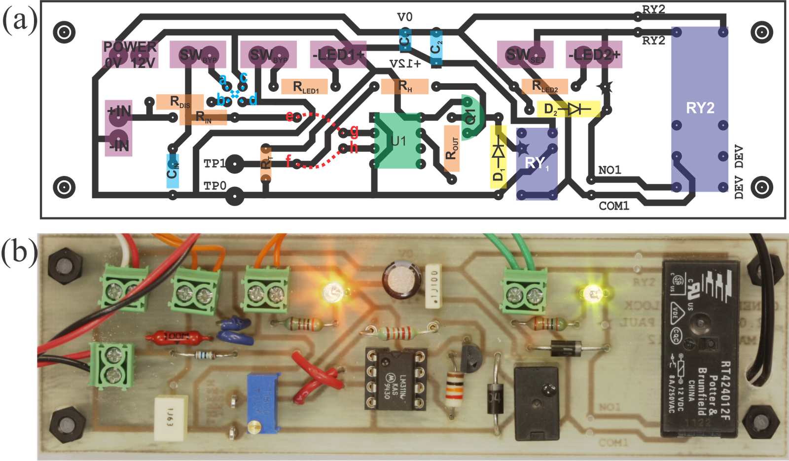 William Paul Figure 2 The Components Layout Of This Circuit Printed Board Actual Dimensions 36x122mm A Copper Traces Shown In Black With Component Overlay Normal Low Configuration