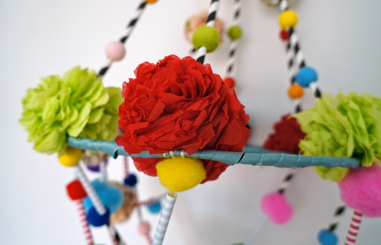 Minimal boho diy polish pajaki chandelier after lots of fun with beads pompoms small pieces of straws and flowers we got the lovely colorful pajaki arubaitofo Images