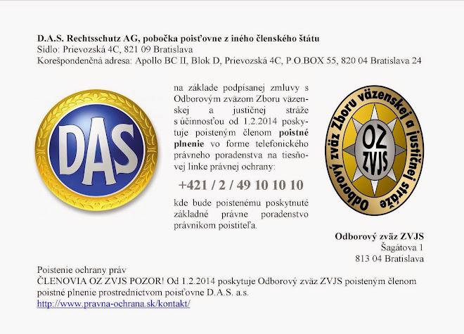 Poistenie ochrany práv členov Odborového zväzu Zboru väzenskej a justičnej stráže