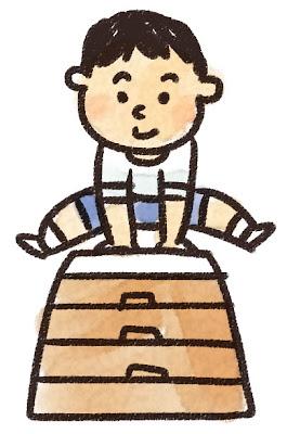 跳び箱を飛ぶ男の子のイラスト