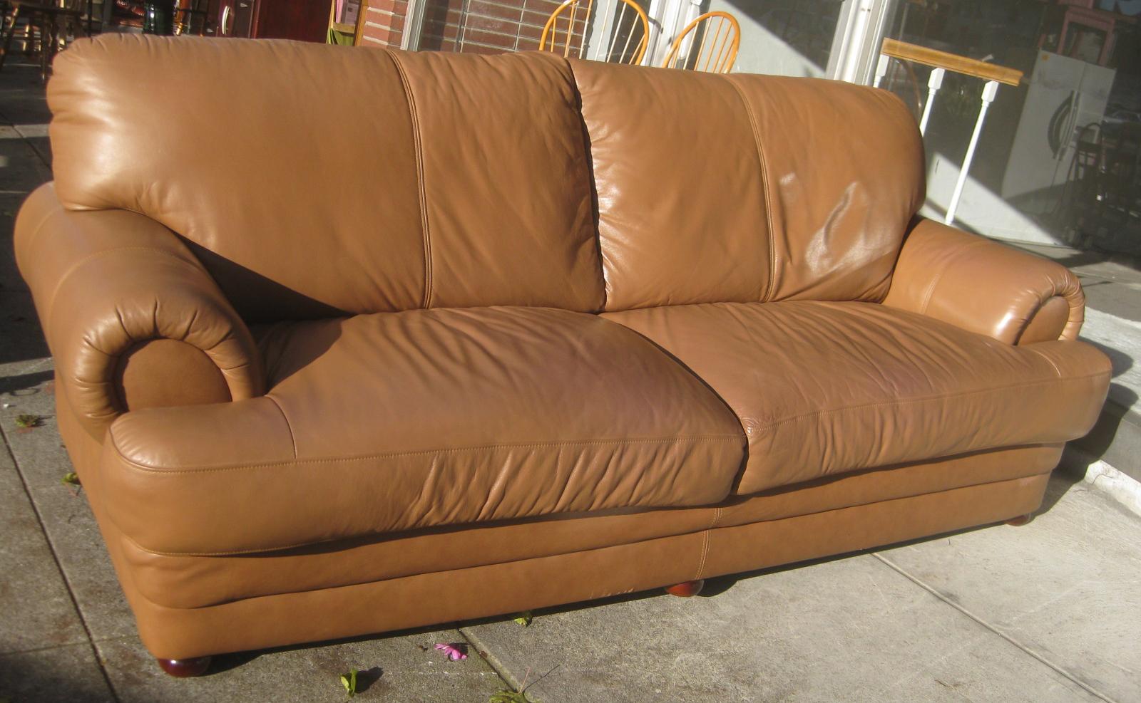 Uhuru Furniture Collectibles Sold Tan Soft Leather Sofa 200