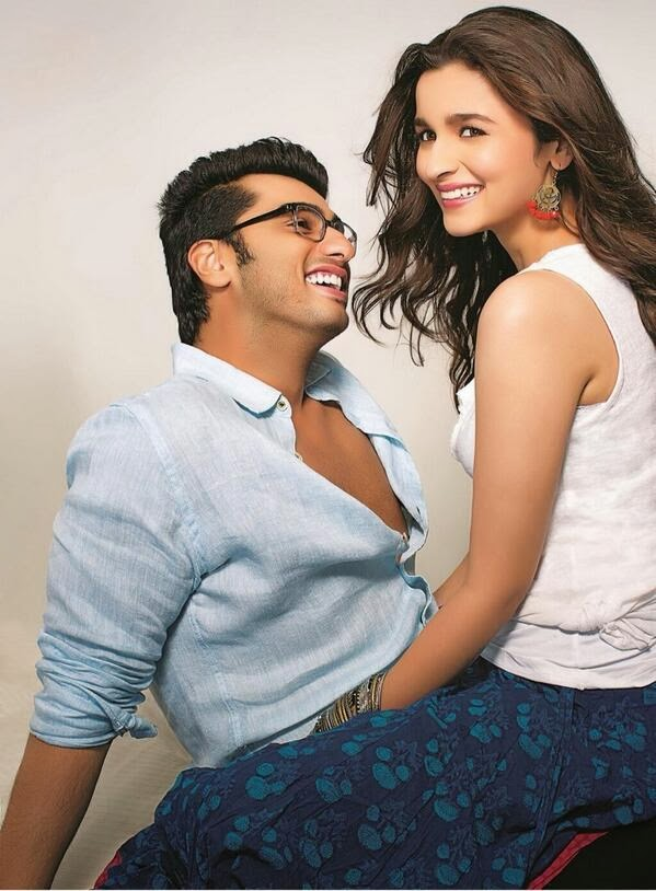 First still of 2 States: Arjun Kapoor in a geek engineer look and Aliya in peacock blue skirt and white topper!