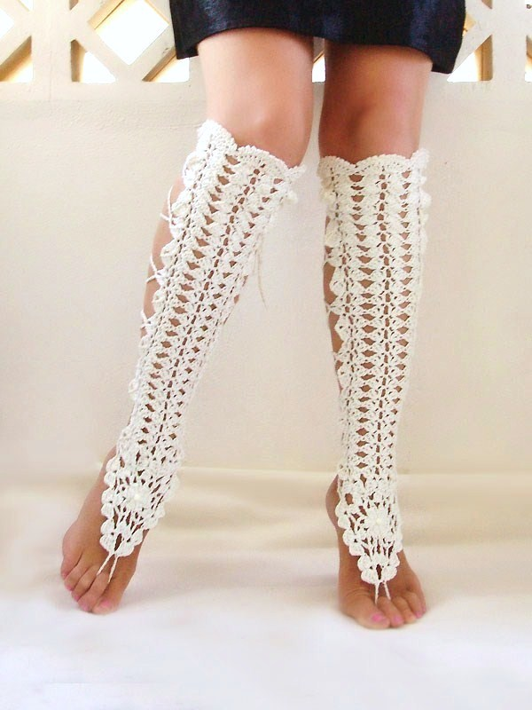 Crochet Leg Warmers : ACCESSORY GALLERY: Crochet Cream Sexy Laced Up Leg Warmers