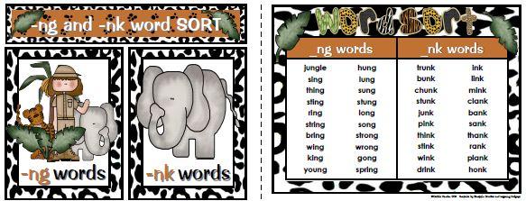 Sailing Through 1st Grade: Digraphs -NG and -NK SORT