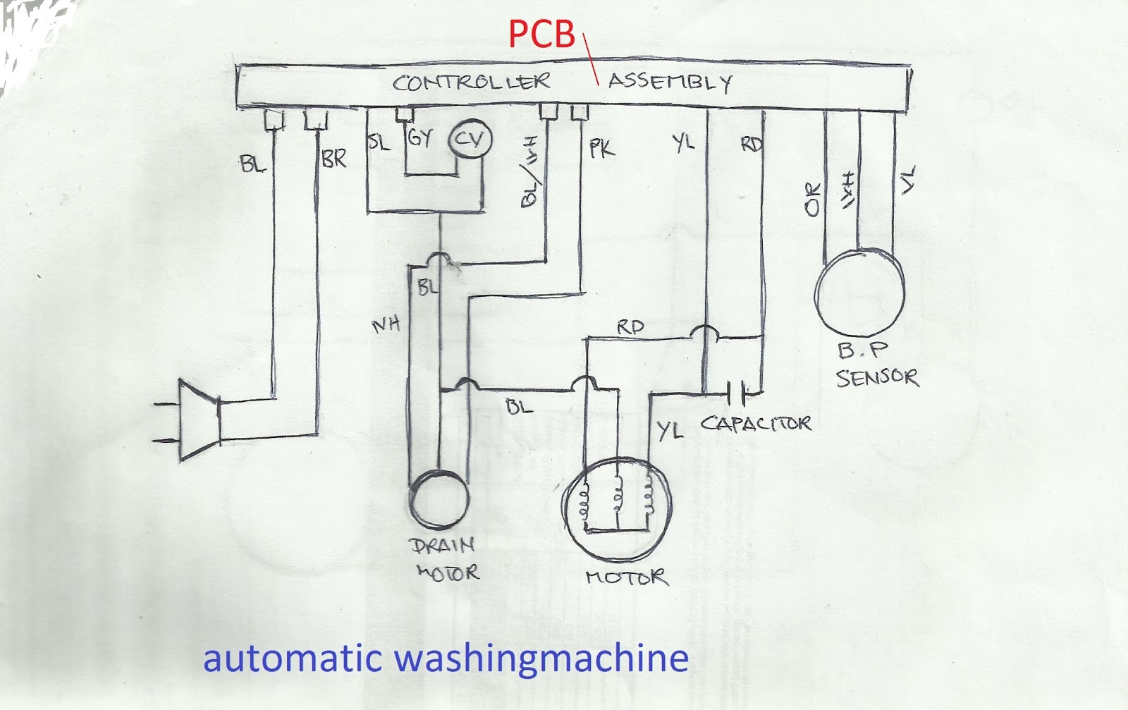 refrigeration and air conditioning repair wiring diagram of wiring diagram of compressor starting capacitor automatic washing machine diagram